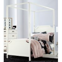 7119/CANOPYBED3/3 White Contemporary Twin Canopy Bed - Tinley Park