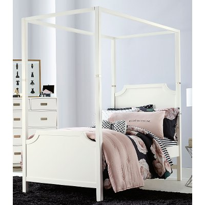 7119/CANOPYBED3/3 White Contemporary Twin Canopy Bed   Tinley Park