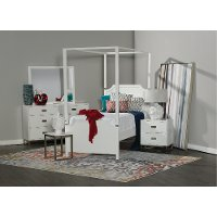 7PC:7119/TINLEYPK3/3 White Contemporary 7 Piece Twin Bedroom Set - Tinley Park