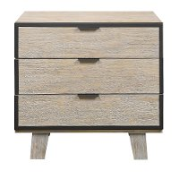 Contemporary Pearl White Nightstand - Synchrony