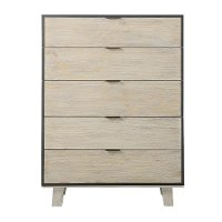 Contemporary Pearl White Chest of Drawers - Synchrony