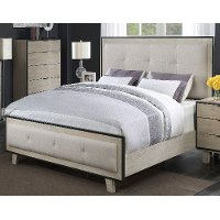 Clearance Contemporary Pearl White King Upholstered Bed - Synchrony