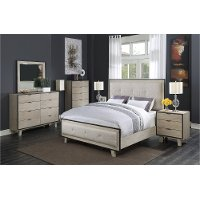 Clearance Contemporary Pearl White 6 Piece Queen Bedroom Set - Synchrony