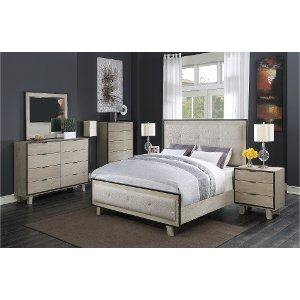 ... Clearance Pearl White Contemporary King Bedroom Set   Synchrony