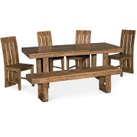 Cinnamon 6 Piece Dining Set with Bench - Urban
