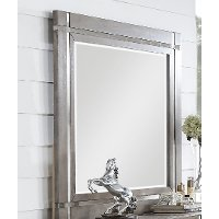 Contemporary Gray and Silver Mirror - Buena Vista