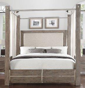 Clearance Contemporary Gray Queen Canopy Bed   Buena Vista