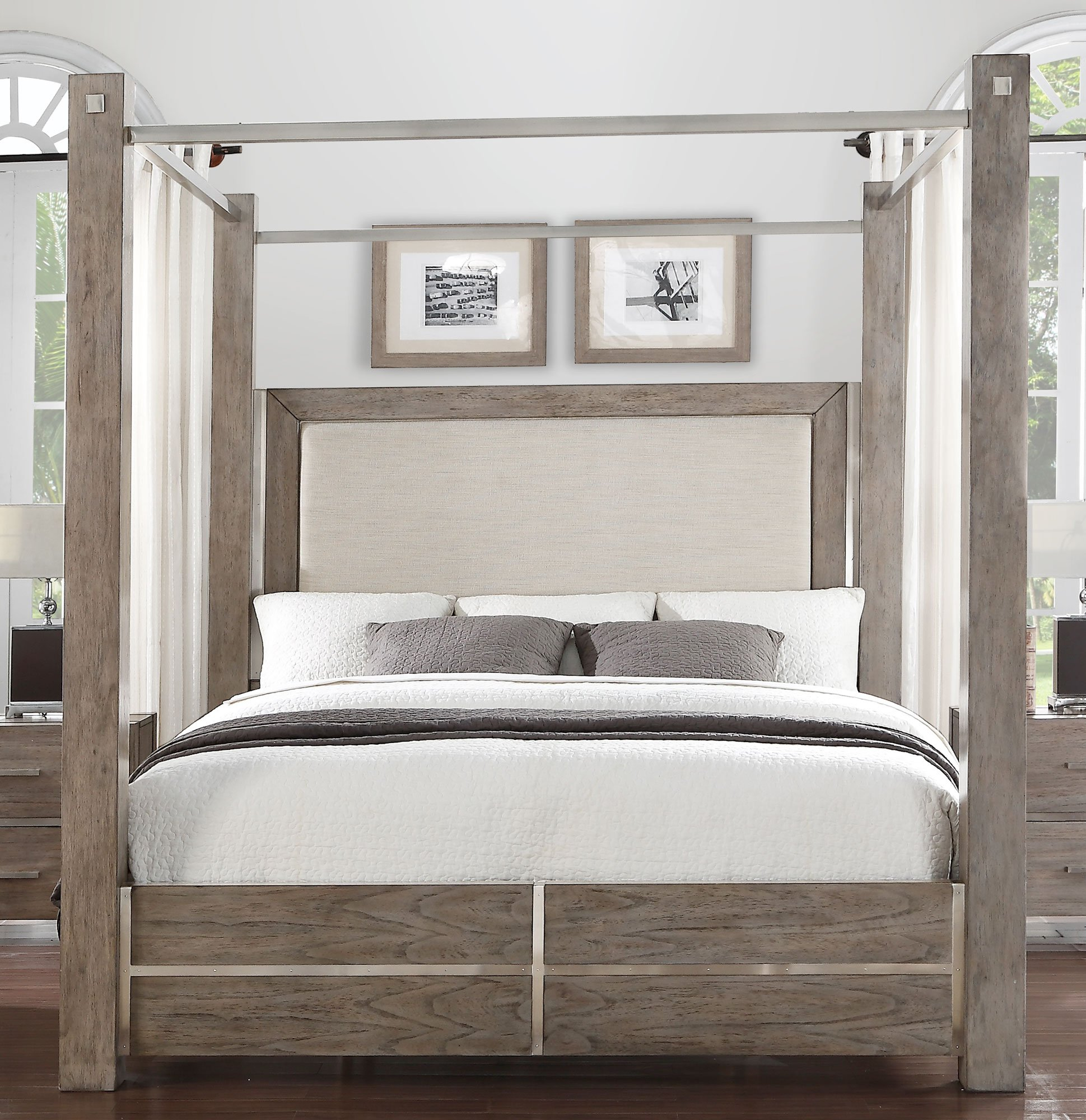 Contemporary Gray Queen Canopy Bed