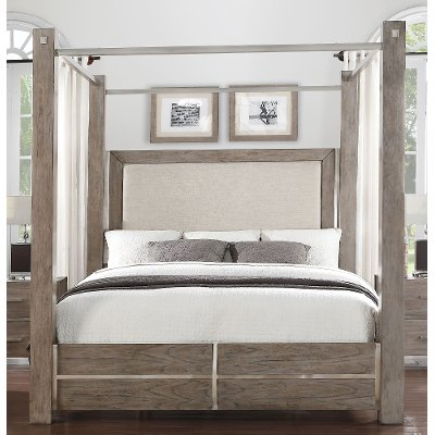Contemporary Gray Queen Canopy Bed - Buena Vista & Contemporary Gray Queen Canopy Bed - Buena Vista | RC Willey ...
