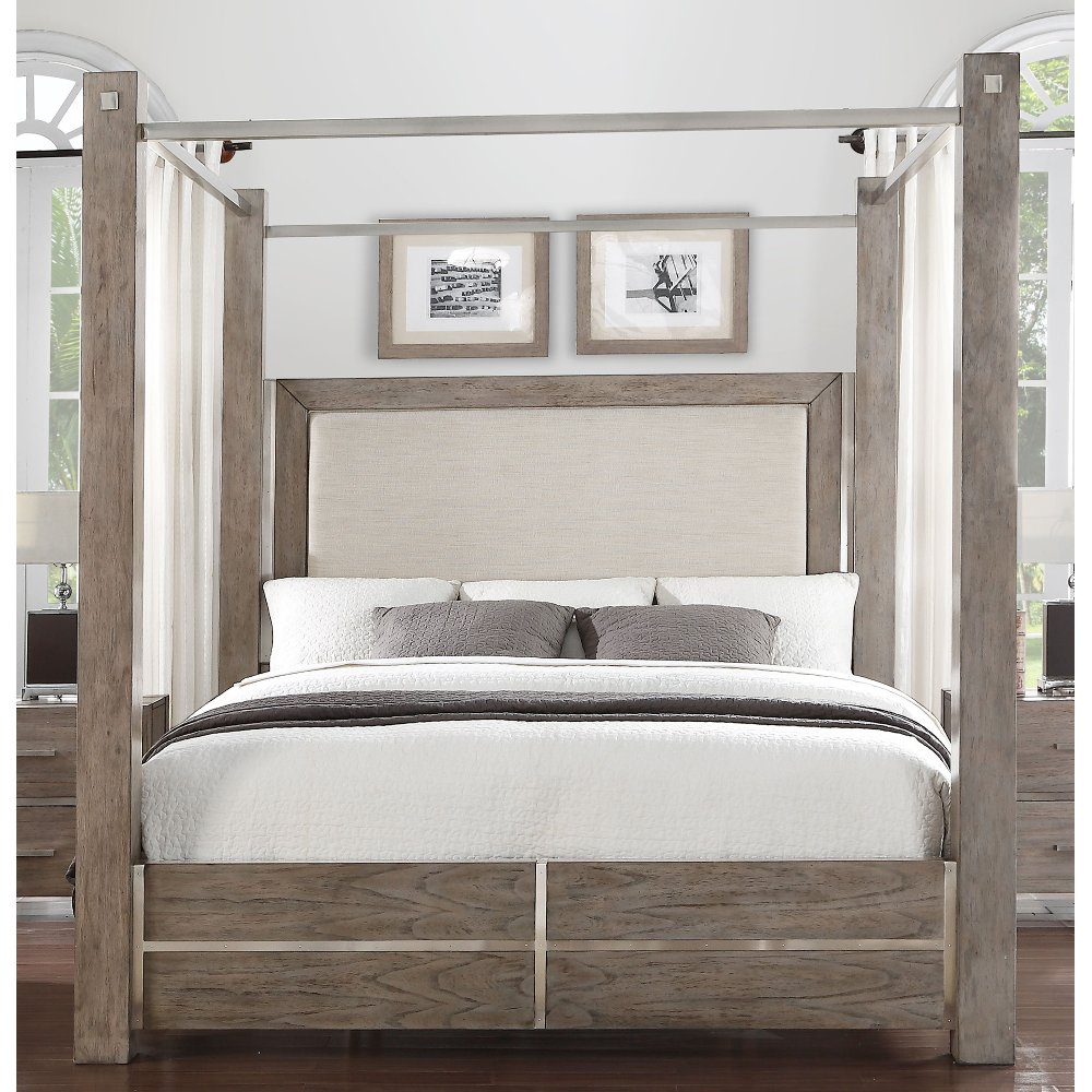 Contemporary Gray King Size Canopy Bed - Buena Vista   RC Willey Furniture Store & Contemporary Gray King Size Canopy Bed - Buena Vista   RC Willey ...