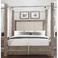 Contemporary Gray King Size Canopy Bed - Buena Vista