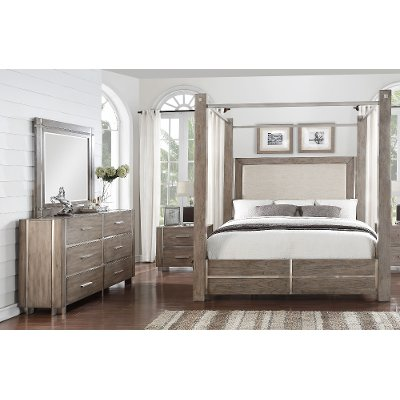 Gray Silver Contemporary 7 Piece King Canopy Bedroom Set