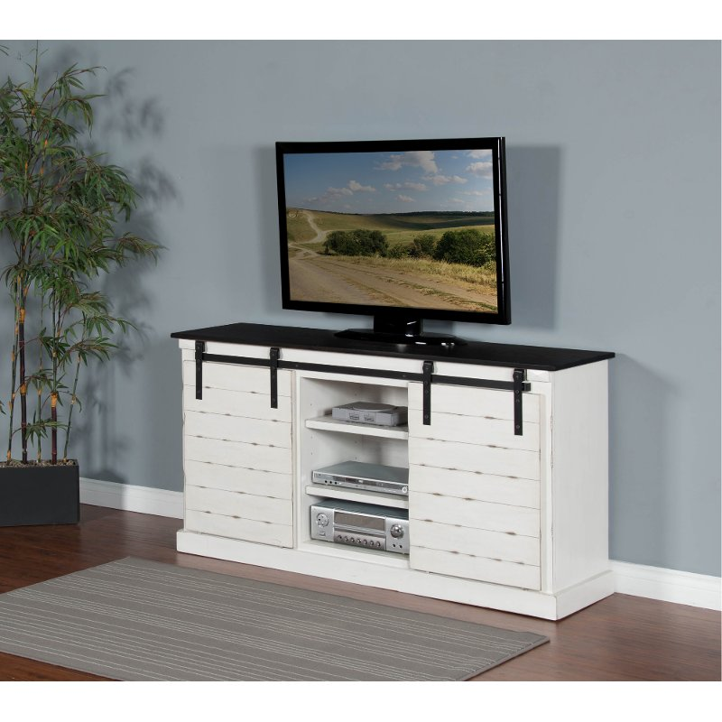 65 Inch European Cottage Charcoal Gray White Tv Stand