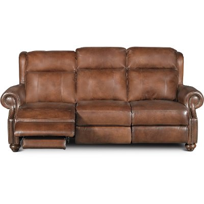 Coffee Brown Leather Power Reclining Living Room Set