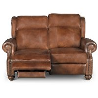Coffee Bean Brown Leather Power Reclining Loveseat - Hancock