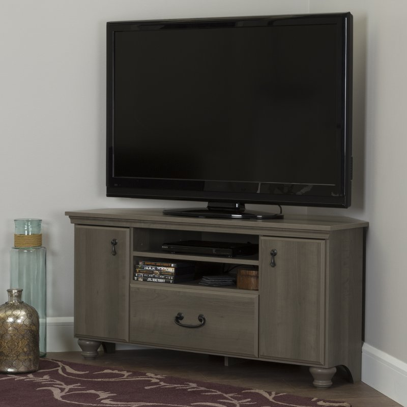 Gray Maple Corner Tv Stand For Tvs Up To 55 Inch Le Rc Willey Furniture