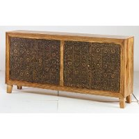 Brass and Natural Brocade Sideboard