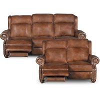 Coffee Bean Brown Leather Power Reclining Sofa & Loveseat - Hancock