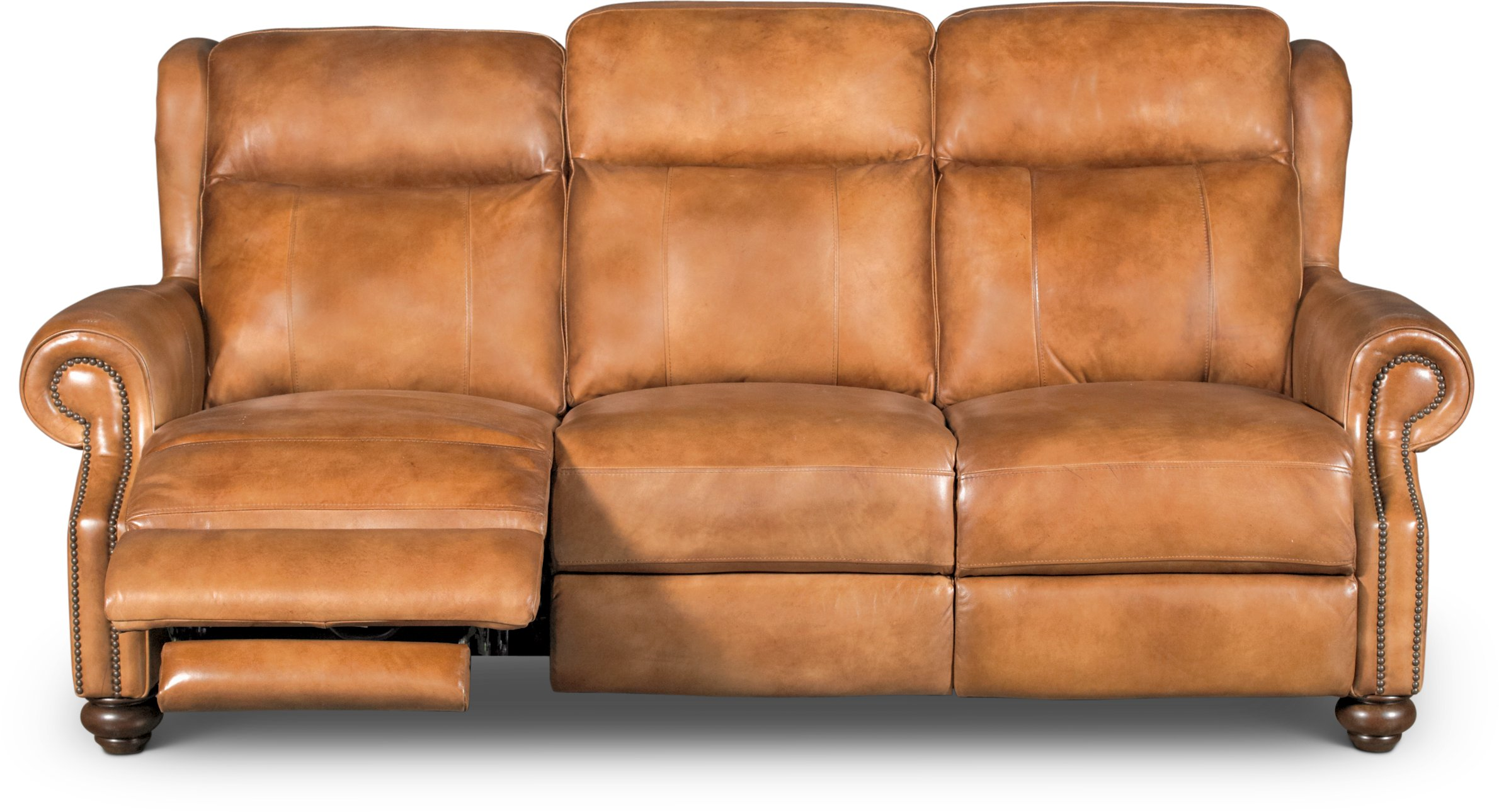 Included In This Set: Whiskey Light Brown Leather Power Reclining Sofa ...