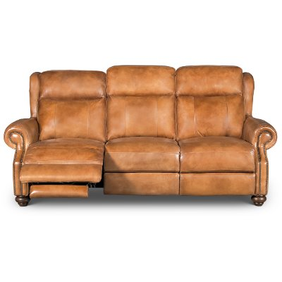 Whiskey Light Brown Leather Power Reclining Sofa   Hancock