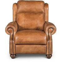 Whiskey Light Brown Leather Power Recliner - Hancock