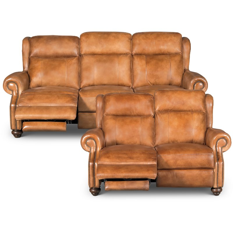 Top Whiskey Light Brown Leather Power Reclining Sofa & Loveseat  WI81