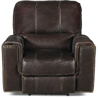Clydesdale Dark Brown Leather-Match Power Recliner - Salinger