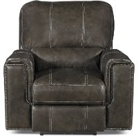 Twilight Charcoal Gray Leather-Match Power Recliner - Salinger