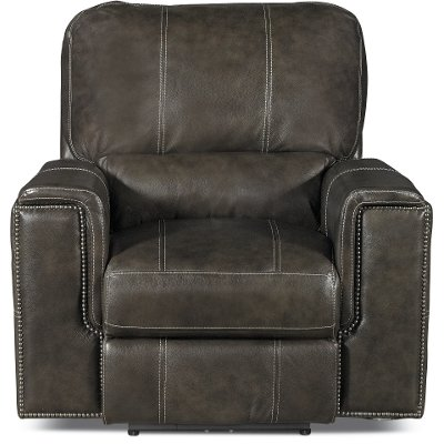 Twilight Charcoal Gray Leather-Match Power Recliner - Salinger  sc 1 st  RC Willey & Twilight Charcoal Gray Leather-Match Power Recliner - Salinger ... islam-shia.org