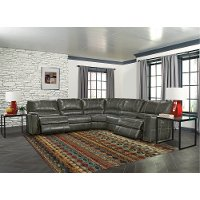 Charcoal Gray 5 Piece Power Sectional Sofa - Salinger