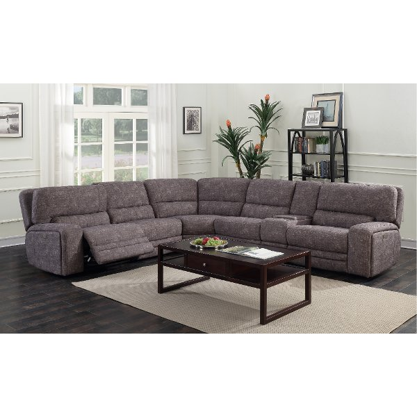 Bon ... Gray Tailored 6 Piece Power Reclining Sectional Sofa   Rock Quarry