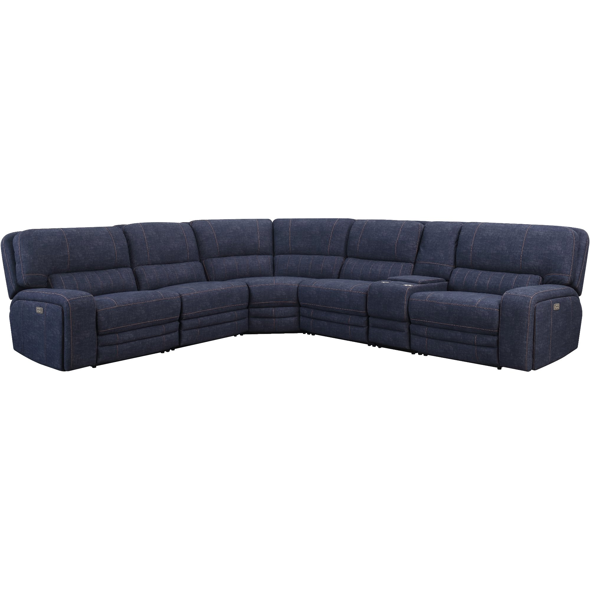 Indigo Blue 6 Piece Reclining Sectional Sofa Rock Quarry
