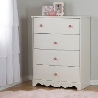 10077 White Wash 4 Drawer Chest - Lily Rose