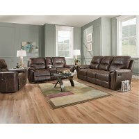 Chocolate Brown Manual Reclining Living Room Set - Desert