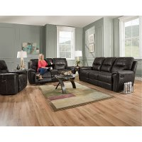 Eclipse Black Manual Reclining Living Room Set - Desert