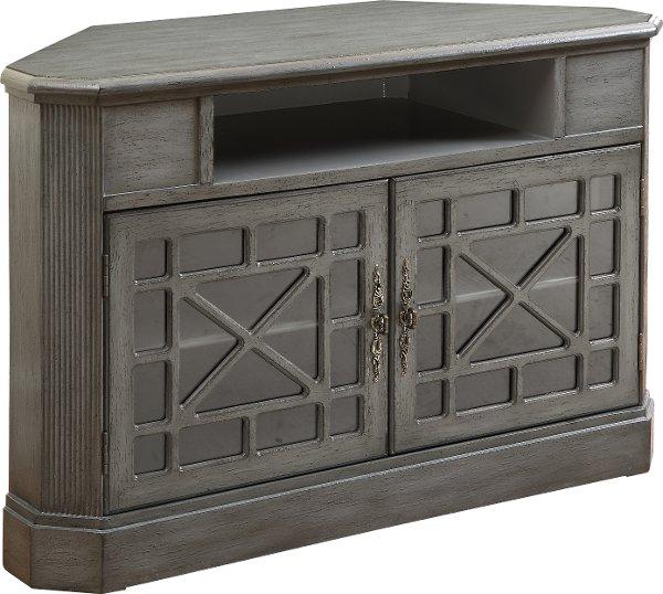 ... 50 Inch Textured Gray Corner TV Stand