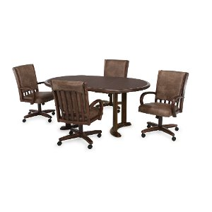 ... 5PC:PALANCE/DINING Walnut 5 Piece Dining Set With Casters   Palance  Collection