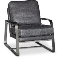 Charcoal Gray Leather Accent Chair - Wayne