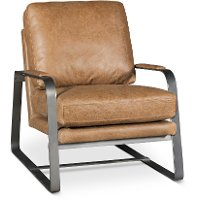 Saddle Brown Leather Accent Chair - Wayne