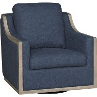 Midnight Navy Blue Swivel Barrel Accent Chair - Bayly