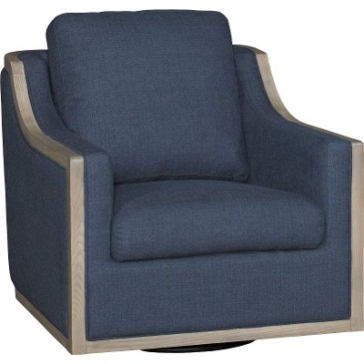 Midnight Navy Blue Swivel Barrel Accent Chair   Bayly
