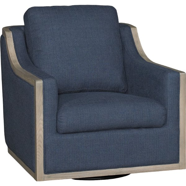... Midnight Navy Blue Swivel Barrel Accent Chair   Bayly