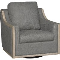 Charcoal Gray Swivel Barrel Accent Chair - Bayly