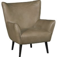 Mink Light Brown Leather-Match Wing Back Accent Chair - Jet