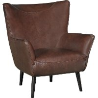 Brown Leather-Match Wing Back Accent Chair - Jet