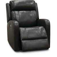 Gray Leather-Match Power Swivel Glider Recliner - Blair