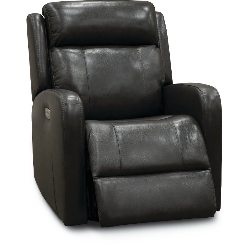 899 99 Gray Leather Match Power Swivel Glider Recliner