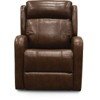 Brown Leather-Match Power Swivel Glider Recliner - Blair