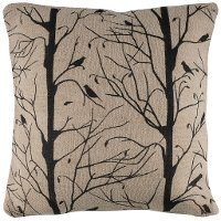Black Birds On A Tree Jute Throw Pillow
