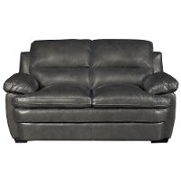 Casual Contemporary Slate Leather Loveseat - Plano